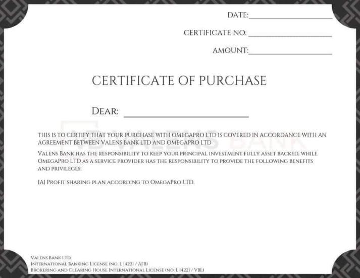 OmegaPro Certificate of Purchase